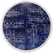 Trumpet Patent Drawing Blue Round Beach Towel