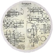 Trumpet Patent Drawing Round Beach Towel