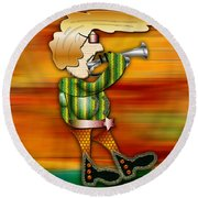 Trumpet Player Round Beach Towel