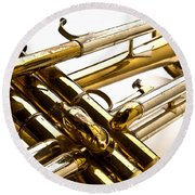 Trumpet Valves Round Beach Towel