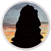 Faces In Rock Round Beach Towel