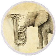 Tuba Round Beach Towel by Eric Fan