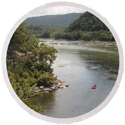 Tubing On The Potomac River At Harpers Ferry Round Beach Towel