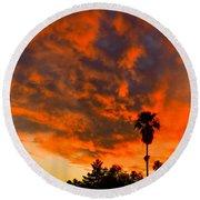 Tucson Arizona Sunrise Fire In The Sky Round Beach Towel