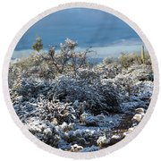 Tucson Covered In Snow Round Beach Towel