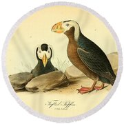 Tufted Puffins Round Beach Towel by Philip Ralley