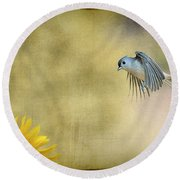 Tufted Titmouse Flying Over Flower Round Beach Towel