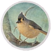 Tufted Titmouse IIi Round Beach Towel
