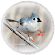 Tufted Titmouse Love  Round Beach Towel