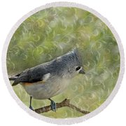 Tufted Titmouse With Decorations Round Beach Towel