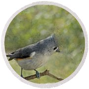 Tufted Titmouse With Decorations II Round Beach Towel
