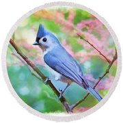 Tufted Titmouse With Spring Booms - Digital Paint II Round Beach Towel