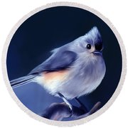 Tufty The Titmouse Round Beach Towel