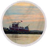 Tug Boat Hard At Work Round Beach Towel