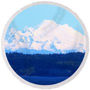 Tug With Mt Baker Round Beach Towel