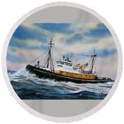 Tugboat Island Commander Round Beach Towel