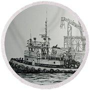Tugboat Martha Foss Round Beach Towel