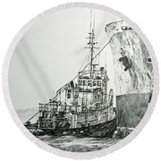 Tugboat Richard Foss Round Beach Towel