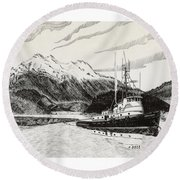 Skagit Chief Tugboat Round Beach Towel