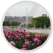 Tuileries Garden In Bloom Round Beach Towel by Jennifer Ancker