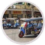 Tuk Tuk Taxis In Bangkok Thailand Round Beach Towel