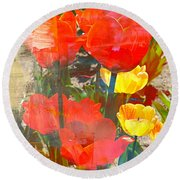 Tulip Abstracts Round Beach Towel