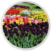 Tulip Field 1 Round Beach Towel