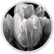 Tulip Flowers Black And White Round Beach Towel