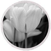 Tulip Flowers In The Garden Monochrome Round Beach Towel