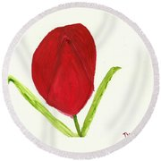 Tulip Of The Heart Round Beach Towel