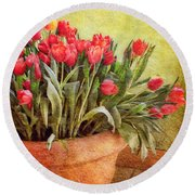 Tulip Tumble Round Beach Towel