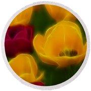 Tulips-6758-fractal Round Beach Towel
