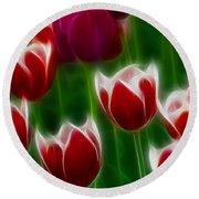 Tulips-6823-fractal Round Beach Towel