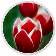 Tulips-6835-fractal Round Beach Towel