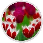 Tulips-6848-fractal Round Beach Towel