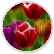 Tulips-7022-fractal Round Beach Towel