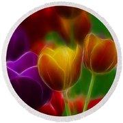 Tulips-7060-fractal Round Beach Towel