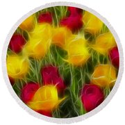 Tulips-7106-fractal Round Beach Towel