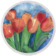 Tulips After The Rain Round Beach Towel