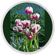 Tulips Among The Forget Me Nots Round Beach Towel