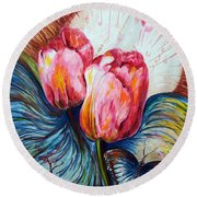Tulips And Butterflies Round Beach Towel