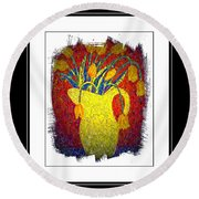 Tulips And Jug Round Beach Towel