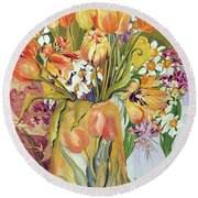 Tulips And Narcissi In An Art Nouveau Vase Round Beach Towel by Joan Thewsey
