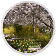 Tulips And Other Spring Flowers At Dallas Arboretum Round Beach Towel