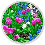 Tulips And Pansies And Grape Hyacinth By Lutheran Cathedral Of Helsinki-finland Round Beach Towel