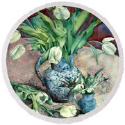 Tulips And Snowdrops Round Beach Towel by Julia Rowntree