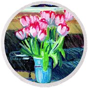 Tulips And Valentines Round Beach Towel