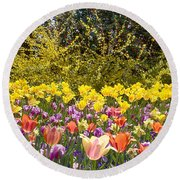 Tulips At Dallas Arboretum V32 Round Beach Towel