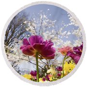 Tulips At Dallas Arboretum V46 Round Beach Towel