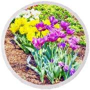 Tulips At Dallas Arboretum V65 Round Beach Towel